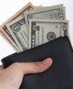 Holding a wallet Royalty Free Stock Photography