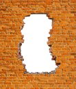 Hole brick wall Royalty Free Stock Photo