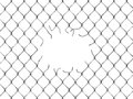Hole in fence from silver mesh isolated on white background Royalty Free Stock Photos