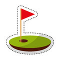 Hole golf with flag Royalty Free Stock Photo