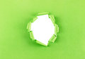 Hole in green paper ripped isolated over a white background Royalty Free Stock Photography