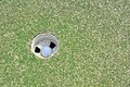 Hole in one golf ball the Royalty Free Stock Photos