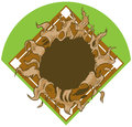 Hole Ripping out of Baseball Diamond Vector Cartoon Clip Art Royalty Free Stock Photo