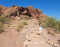 A hole in the rock shot phoenix arizona june on june papago park arizona hike to archaeological site Royalty Free Stock Photo