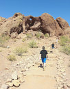 A hole in the rock shot phoenix arizona june on june papago park arizona hike to archaeological site Stock Images