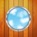 Hole in the shape of a circle on the background of sky eco round window wooden wall Royalty Free Stock Images