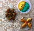 Holi celebration with food and gulal Royalty Free Stock Photo