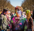 Holi celebrations kharkiv ukraine march on march in kharkiv ukraine celebrating the indian festival of colors and spring in Stock Images