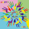 Holi greeting card hindu spring festival of colors Stock Images