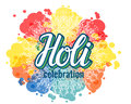 Holi lettering and colorful paint splash spots texture. isolated vector illustration