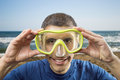 Holiday activity man getting ready for scuba diving Royalty Free Stock Photo