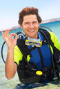 Holiday activity, scuba diving Royalty Free Stock Images