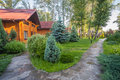 Holiday apartment - wooden cottage in forest Stock Image