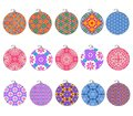 Holiday assortment of Christmas ornaments isolated on white to cut out for gholiday designs Royalty Free Stock Photo