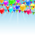 Holiday background with birthday flags and confetti in the blue illustration sky Stock Images