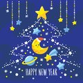 Holiday background with cartoon crescent, comet, Saturn and Christmas tree of stars in the night sky. Royalty Free Stock Photo