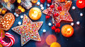 Holiday background. Christmas served table with decorations Royalty Free Stock Photo