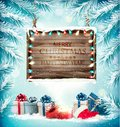 Holiday background with a Christmas tree and presents Royalty Free Stock Photo