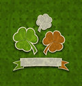 Holiday background with clovers in Irish flag colo Royalty Free Stock Photo