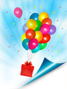 Holiday background with colorful balloons and gift box vector Royalty Free Stock Photos
