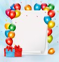 Holiday background with colorful balloons and gift boxes vector illustration Royalty Free Stock Photos