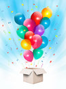 Holiday background with colorful balloons and open box vector Stock Image