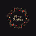 Holiday background with hand drawn words merry christmas in a wreath with berries Royalty Free Stock Photo