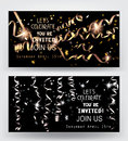 Holiday background. Invitation gold and silver cards with sparkling serpentine and star shaped confetti.
