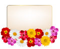 Holiday background with a paper greeting card and flowers vector illustration Stock Photo