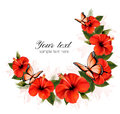 Holiday background with red beauty flowers and butterflies. Royalty Free Stock Photo