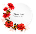 Holiday background with red flowers and butterfly. Royalty Free Stock Photo