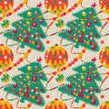 Holiday background seamless christmas from fir trees toys and garlands Royalty Free Stock Photography