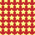 Holiday background seamless pattern of yellow stars on a red Stock Photography