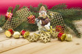Holiday background with snowmenand toys snowmen pine branches and Stock Photo