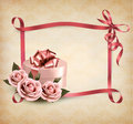 Holiday background with three roses and gift box a ribbon vector Stock Images