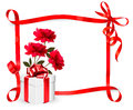 Holiday background with three roses and gift box a ribbon vector Stock Image