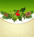 Holiday background, tree, pine cones, holly Royalty Free Stock Photo
