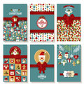 Holiday banner set of Christmas in flat style. Bright background Royalty Free Stock Photo