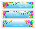 Holiday banners with balloons flags and colorful Royalty Free Stock Image