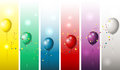Holiday banners with colorful balloons illustration of Stock Images