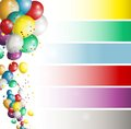 Holiday banners with colorful balloons illustration of Stock Photo