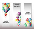 Holiday banners with colorful balloons illustration of Royalty Free Stock Image