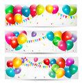 Holiday banners colorful balloons vector Royalty Free Stock Photography