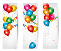 Holiday banners with colorful balloons vector Royalty Free Stock Images