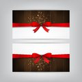 Holiday banners red bow brown wood Royalty Free Stock Photo