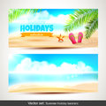 Holiday banners vector set of summer horizontal Stock Photo