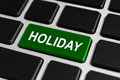 Holiday button on keyboard green business concept Royalty Free Stock Photos