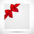 Holiday card christmas gift birthday card bow greeting template with big lush red ribbons present Royalty Free Stock Photo