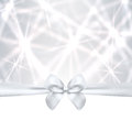 Holiday card christmas gift birthday card silv greeting silver template with bow ribbon present sparkling twinkling Stock Photography