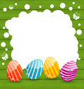 Holiday card with easter colorful eggs illustration Stock Image